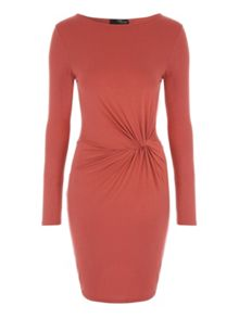 Knot Detail Long Sleeve Jersey Dress