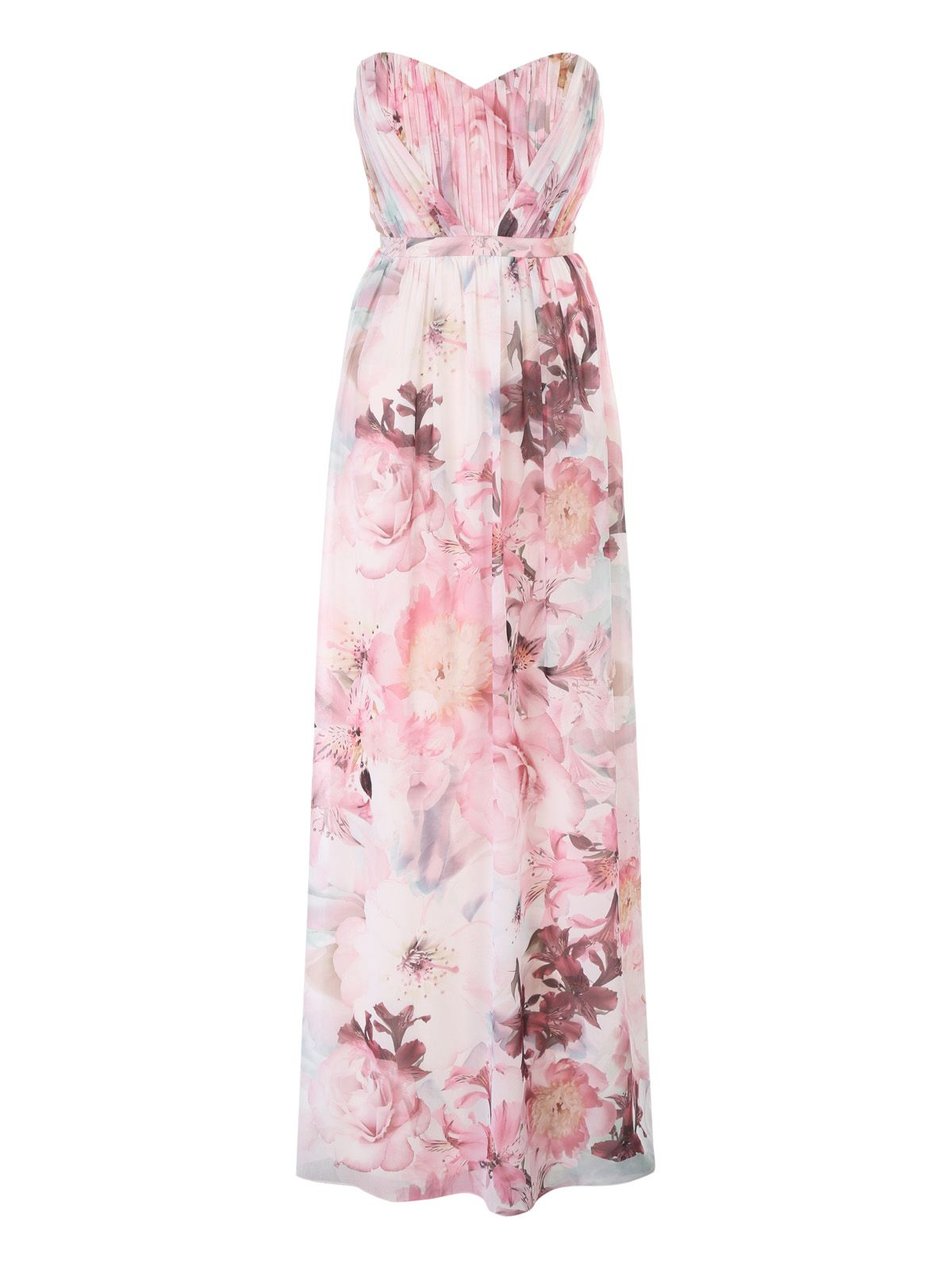 Jane Norman Floral Pleated Maxi Dress, Multi-Coloured