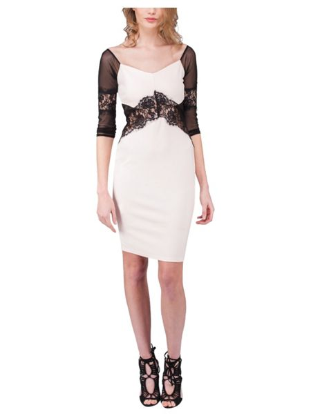 Jane Norman Lace and Mesh Bodycon Dress