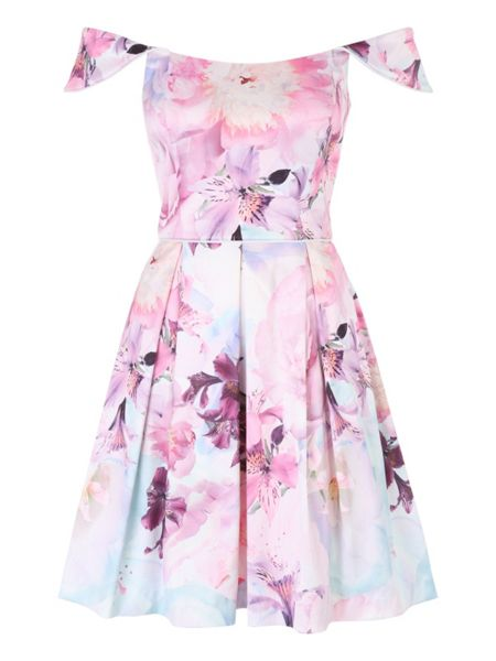 Jane Norman Floral Bardot Satin Prom Dress