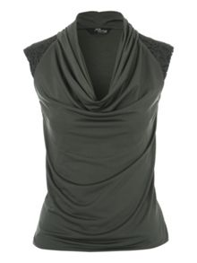 Jane Norman Khaki Cowl Neck Lace Shoulder Top