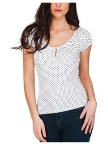 Jane Norman Keyhole Button Gypsy Top