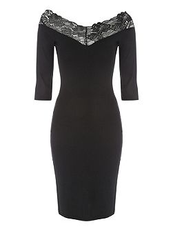 Black Lace Bodycon Bardot Dress