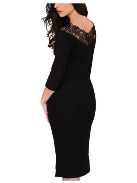 Jane Norman Black Lace Bodycon Bardot Dress