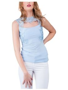 Jane Norman Blue Brocade Cut Out Top
