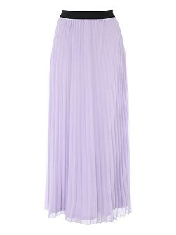 Lilac Pleated Chiffon Midi Skirt