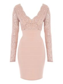 Jane Norman Lace Long Sleeve Bandage Dress