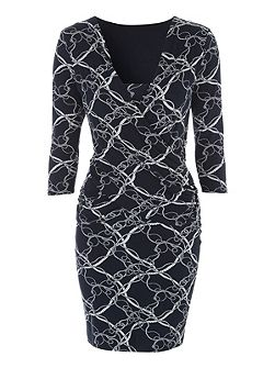 Rope Print Wrap Dress
