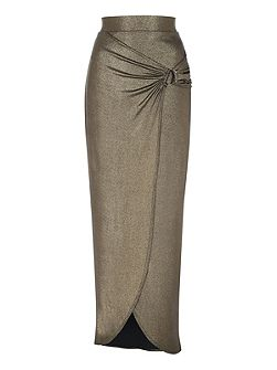 Metallic Split Maxi Skirt