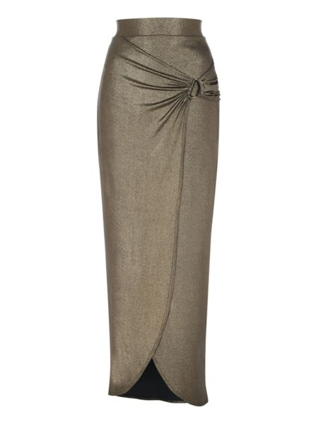 Jane Norman Metallic Split Maxi Skirt