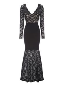 Jane Norman Black Lace Bandage Maxi Dress