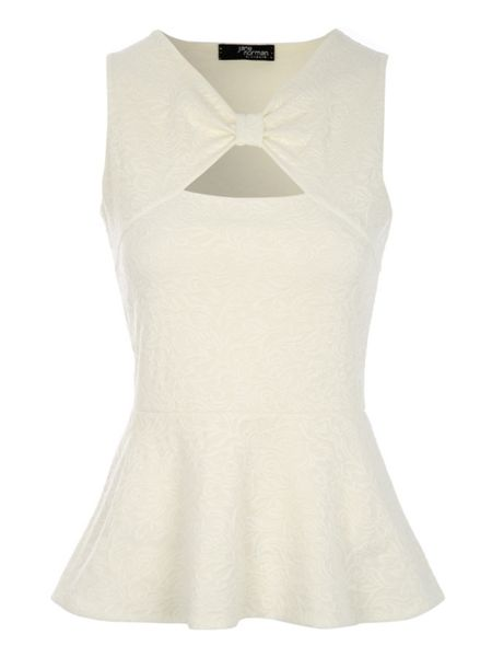 Jane Norman Lace Peplum Bow Top