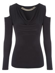 Jane Norman Cowl Neck Cold Shoulder Top