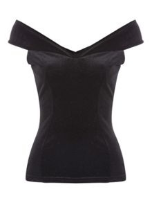 Jane Norman Velvet Bardot Top