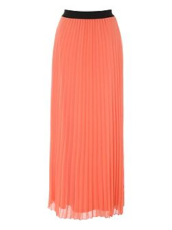 Coral Pleated Chiffon Midi Skirt