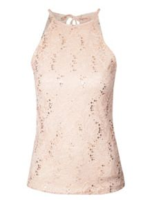 Lace and sequin Racerback Top