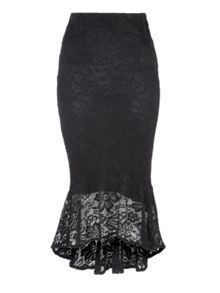 Jane Norman Lace Trumpet Hem Skirt