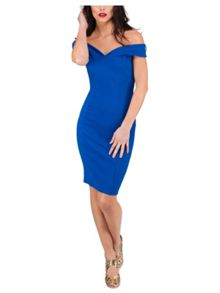 Jane Norman Bardot Solid Bodycon Dress