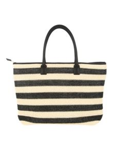 Jane Norman Black and Cream Striped Woven Beach Bag