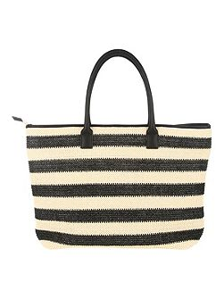 Black and Cream Striped Woven Beach Bag