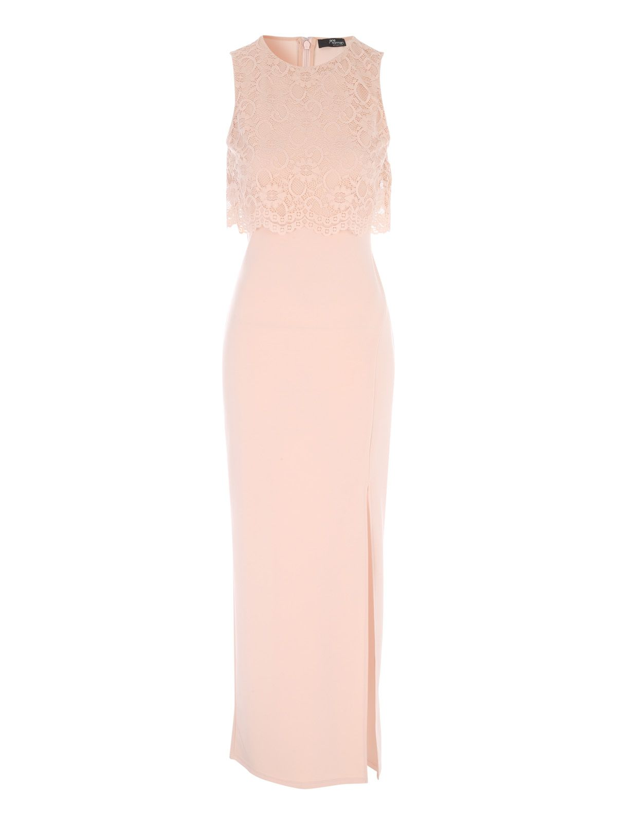 Jane Norman Lace Overlay Maxi Dress, Nude