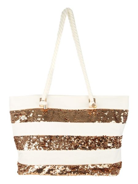 Jane Norman Gold Sequin Stripe Beach Bag