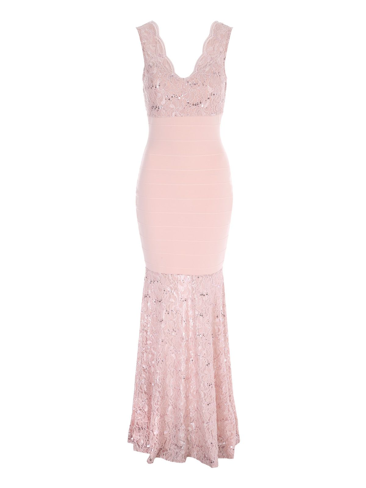 Jane Norman Lace Maxi Bandage Dress, Nude