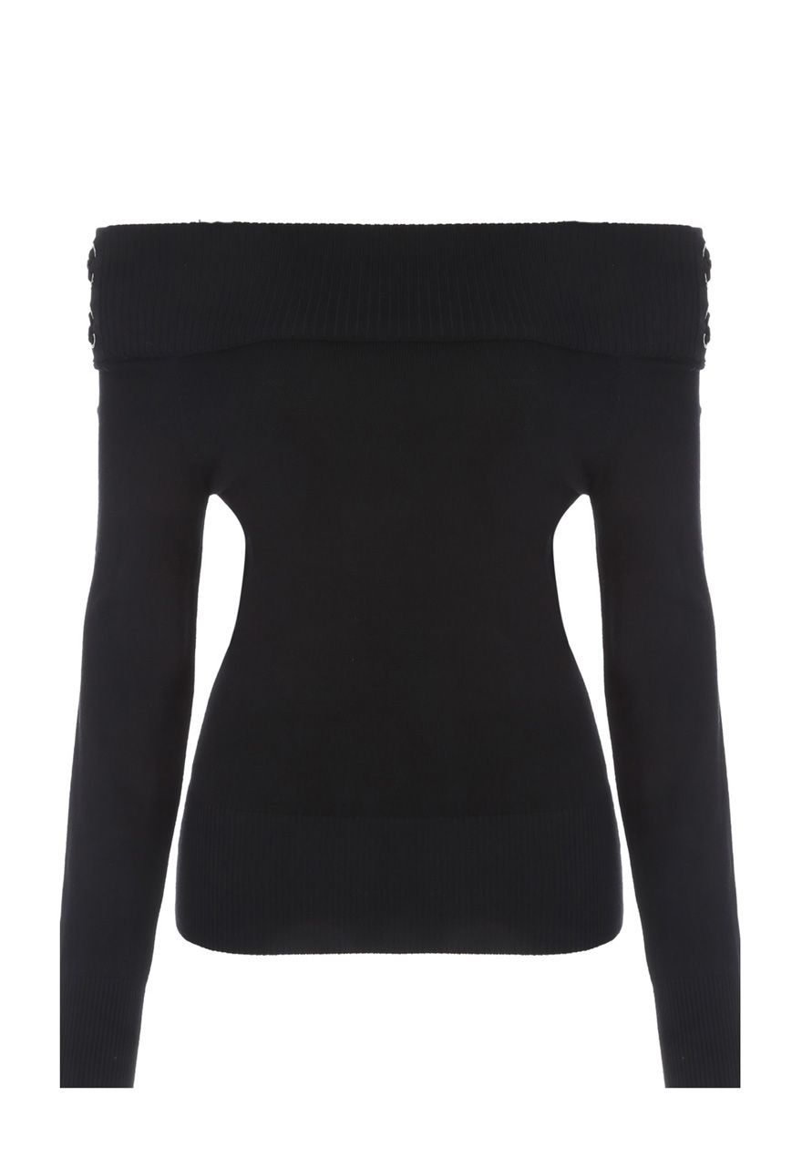 Jane Norman Bardot Lacing Detail Top, Black