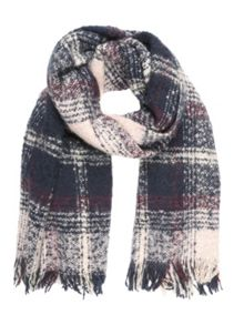 Navy & Pink Soft Check Scarf