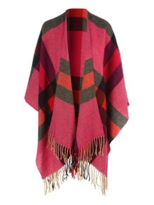 Bright Red Check Wrap Scarf
