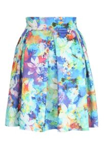 Watercolour Floral Box Pleat Skirt