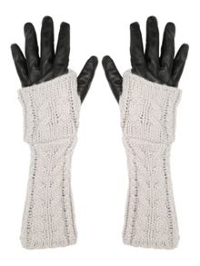 Grey & Black Leather Knitted Long Gloves