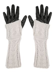 Jane Norman Grey & Black Leather Knitted Long Gloves