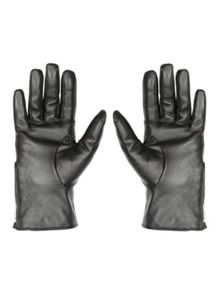 Black Quilted Leather Gloves S/M