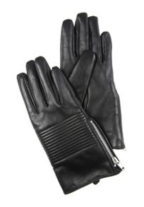 Black Quilted Leather Gloves M/L