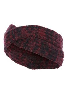 Jane Norman Red & Black Marl Knitted Twist Headband