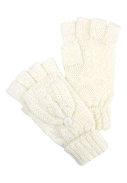 Jane Norman Ivory Knitted Fliptop Mittens