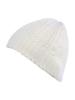 Ivory Knitted Beanie Hat