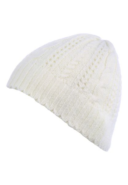 Jane Norman Ivory Knitted Beanie Hat