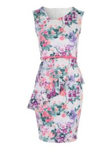 Jane Norman Printed Peplum Belted Dress