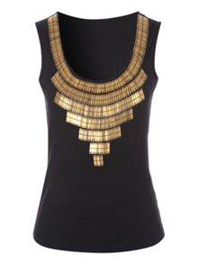 Jane Norman Black Beaded Neck Detailed Top