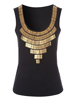 Black Beaded Neck Detailed Top