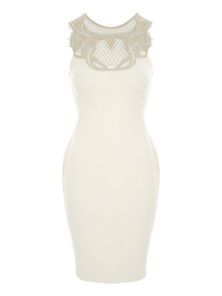 Jane Norman Ivory Embroidered Bodycon Dress