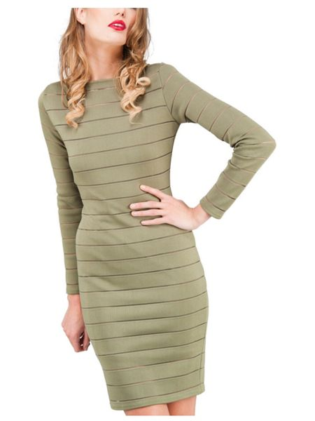 Jane Norman Burnout Stripe Midi Dress