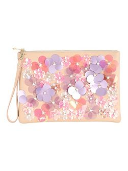 Assorted Applique Flower Clutch Bag