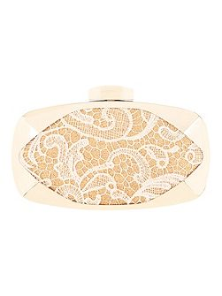 Lace Overlay Box Clutch Bag