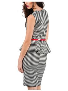 Jane Norman Black and White Peplum Dress