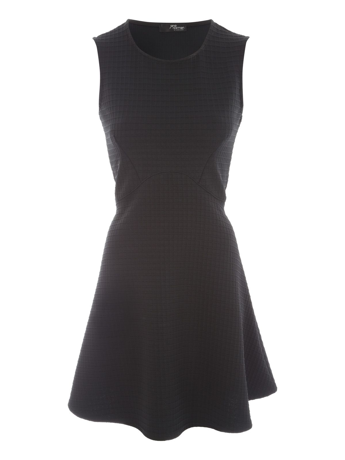 Jane Norman Textured Fit And Flare Dress, Black