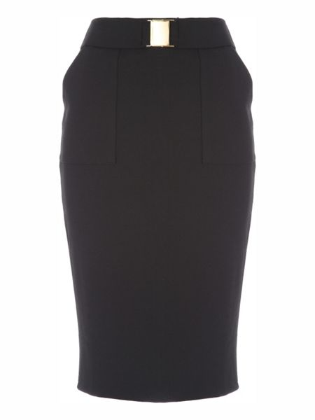 Jane Norman Black Buckle Pencil Skirt