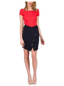 Jane Norman Asymmetric Button Wrap Skirt
